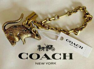 COACH-Bronze-Gold-Tone-Mouse-Keyring-Key-Chain-Charm-84704-Bag-Charm-Jeweled