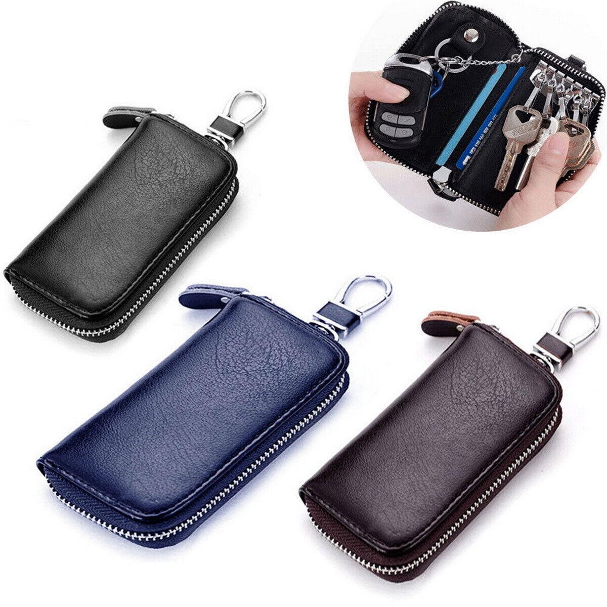 Genuine Leather Key Holder Case Keychain Pouch Bag Car Wallet Key Ring Unisex