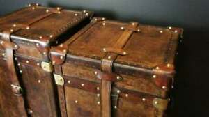 Antique-English-Handmade-Bridle-Leather-Occasional-Side-Table-Trunks-ZA12