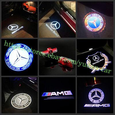 New 2pc Car LED Door Light Projector Logo For Mercedes Benz C-Class W204 2007-14