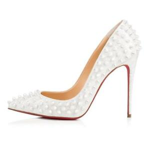 finest selection f610d 1002e Details about Christian Louboutin FOLLIES SPIKES 100 Patent Heels Pump  Shoes White Pearl $1295