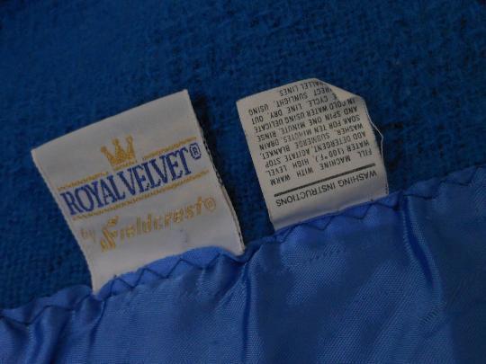 Fieldcrest Blanket Wool Blend Basketweave Royal Velvet Blue