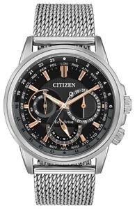 Citizen Eco-Drive Men's World Time Black Dial Mesh Band 44mm Watch BU2020-70E