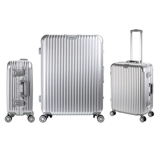 Luxury Aluminum Frame Travel Luggage 4 Wheels Trolley Suitcase ,Silver