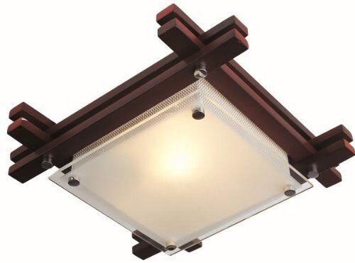 Plafoniere In Legno Per Bagno : Edison plafoniera legno vetro satinato giapponese orientale globo