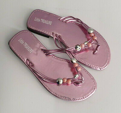 BNWT Little Girls Sz 10 Smart Tan Rivers Doghouse Strappy Bead Sandals RRP $30