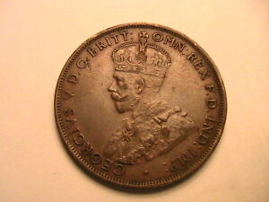 1927-AUSTRALIA-One-Penny-Sharp-aXF-Scarce-Ch-Brown-Toned-Lustrous-1P-Copper-Coin