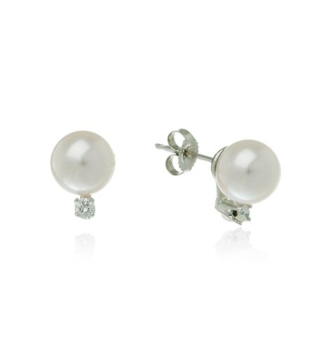 Brand New 14 Karat White Gold 6mm Cultured Pearl /& Diamond Stud Earrings