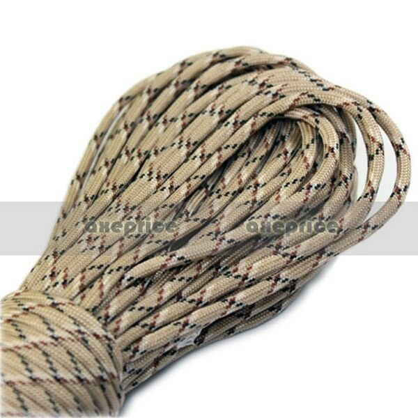 Desert Camo Parachute Cord Paracord 550 7 core Strand 100FT camping tent rope