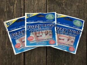 3-x-FUZZY-BRUSH-CHEWABLE-TOOTHBRUSH-Coolmint-Disposable-Travel-Camping-Wash-Kit