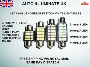 31mm 36mm 39mm 41mm Car Festoon Light Bulbs Lamps White Led Smd No Error Canbus