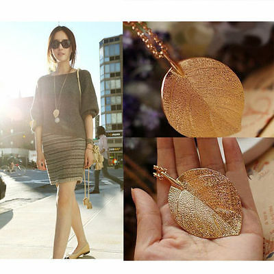 New Fashion Elegant Shiny Golden Leaf Pendant Necklace Long Sweater Chain