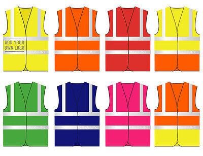 Hi Vis Coloured Vest Waistcoats Vests Yellow Orange Pink Green Navy