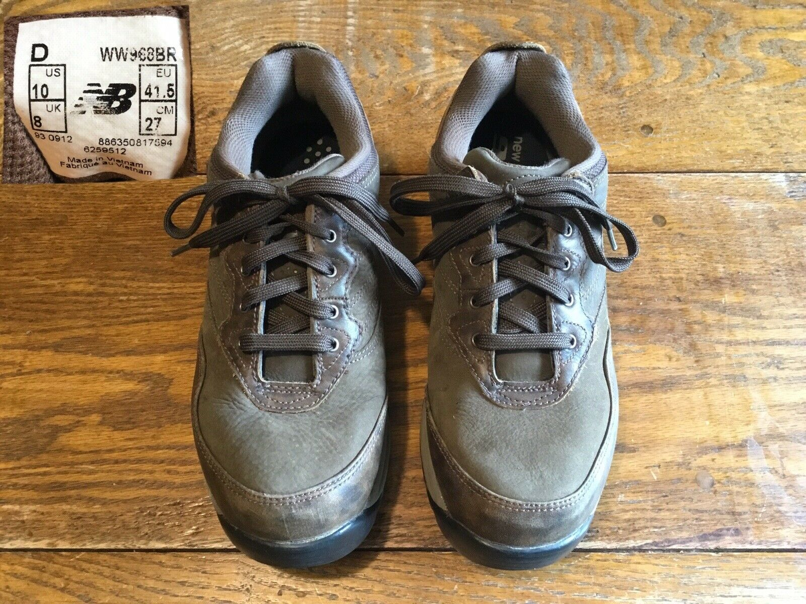 Mens NEW BALANCE MW968BR Brown Leather Outdoor Waterproof Walking shoes, Sz 10D