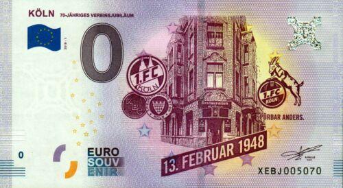 5 x Null Euro Schein 0 Euro Schein 1 FC Köln Vereinsjubläum 13.2.1948-2018
