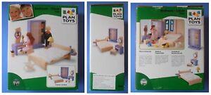 Dettagli su Mobili in legno Plan Toys camera letto tavolo armadio sedia casa casetta bambole