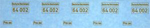 Spur 0 Loknummern 64002 DRG + Gattung Gold auf Klar, TOP Siebdruck 045-18010
