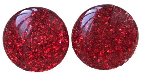 Red Glitter 16mm discoteca Hipoalergénico Redondo Resina Kitsch Botón Pernos de cúpula