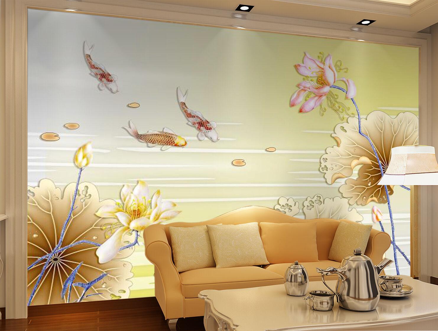 3D Lotus golden Plants 628 Wall Paper Wall Print Decal Wall AJ WALLPAPER CA