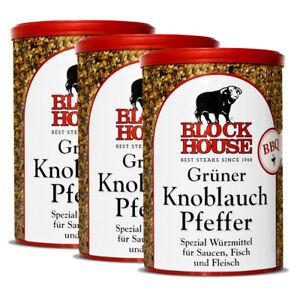 3-Dosen-The-Block-House-Gruener-Knoblauch-Pfeffer-200g-Gourmet-Gewuerz-Restaurant