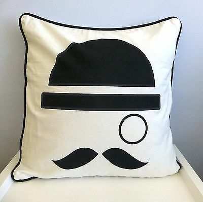 One Duck Two Magritte Cotton Cushion Cover 45 x 45 Moustache and Monocle design