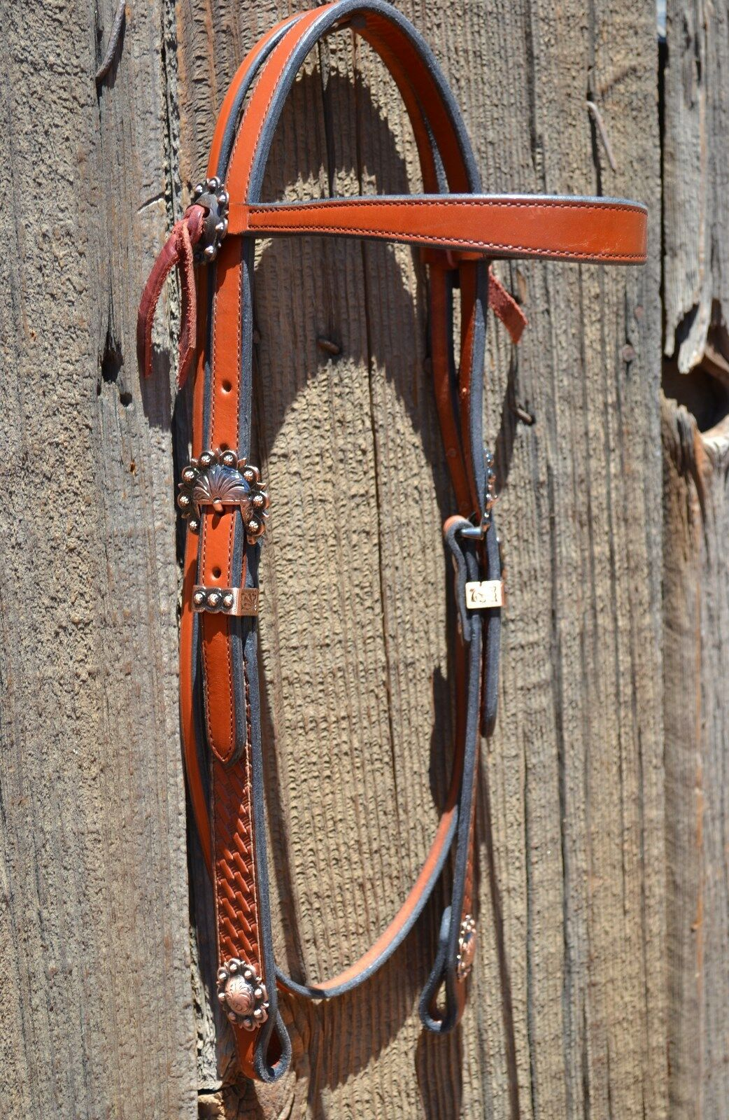 3 4  Flared Browband Headstall Basket Tooled Cowboy Cheeks Medium Oil - Copper