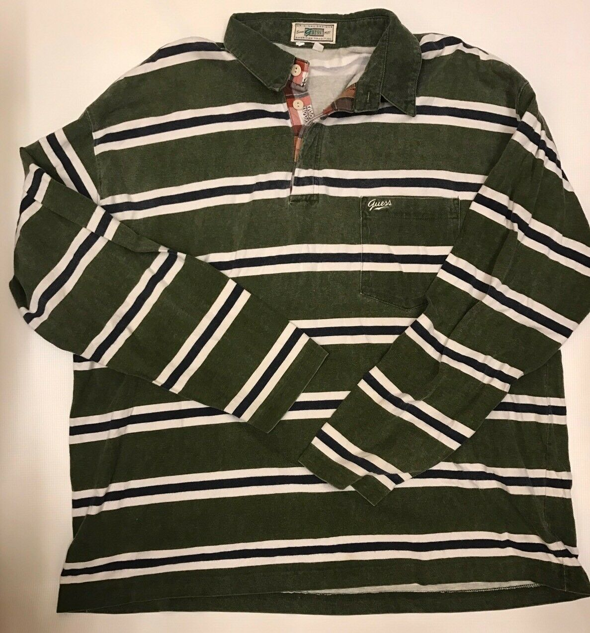 Guess Designs Polo Long Sleeve Shirt Men's Size XL Vintage Made in USA