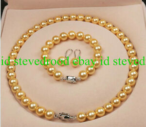 Natural-10mm-Gold-South-Sea-Shell-Pearl-Gemstone-Necklace-Bracelet-Earrings-AAA