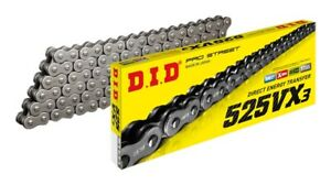 DID-PRO-STREET-525-VX3-X-RING-MOTORCYCLE-CHAIN-RAW-124-LINKS-Rivet-Link