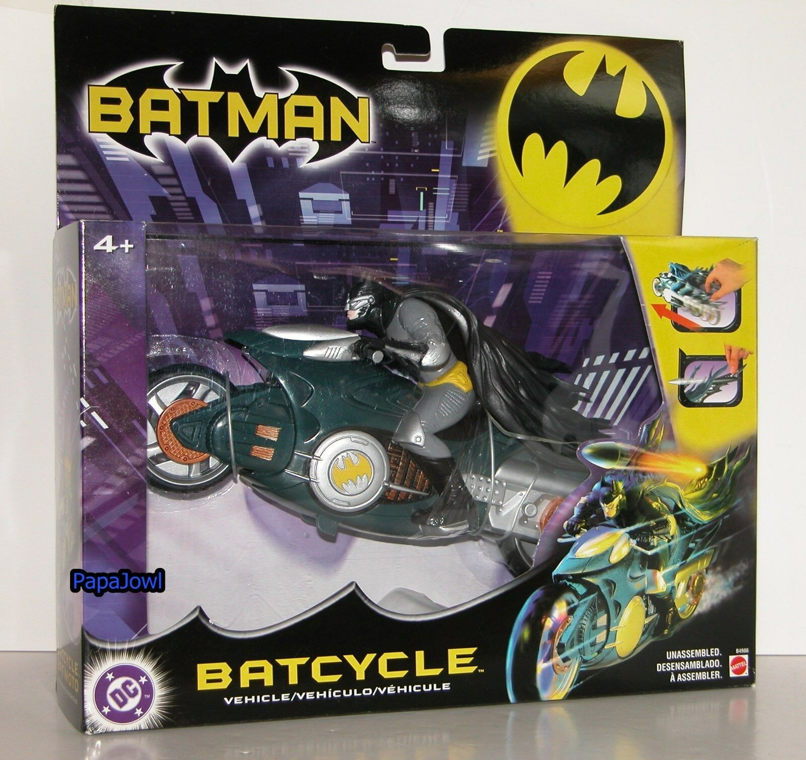 DC Batcycle With Batman And Rear Wing Missile 2003 Mattel Release Rev 'N' Go