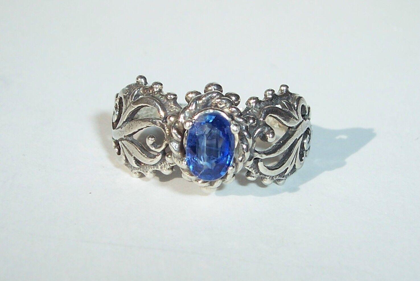 Beautiful Royal bluee Kyanite small 6x4mm oval USA Made Sterling Filigree sz 8
