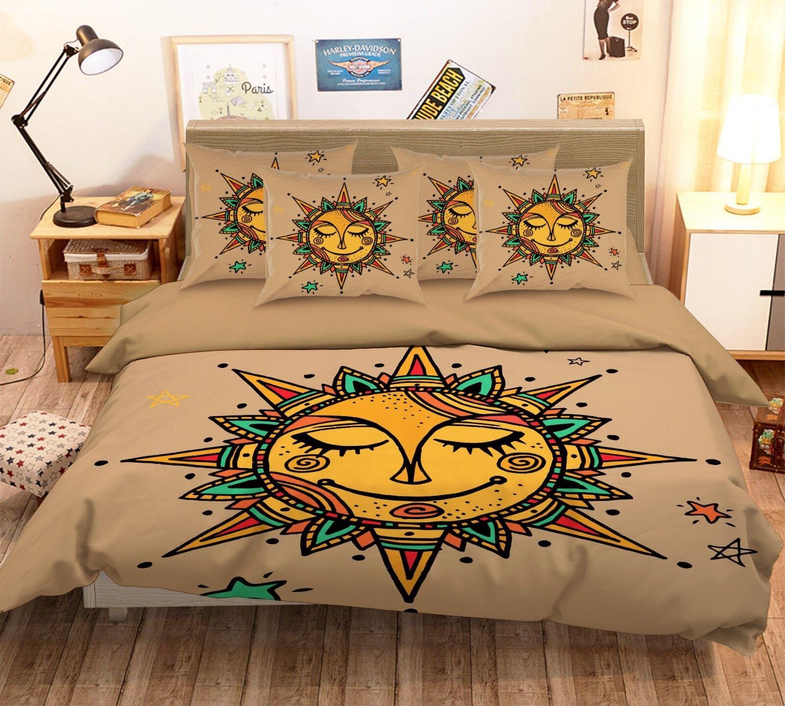 3D Sun Face 126 Bed Pillowcases Quilt Duvet Single Queen King US Summer