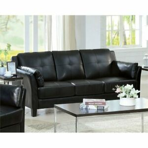 Details about Furniture of America Tonia Leather Tufted Sofa in Black