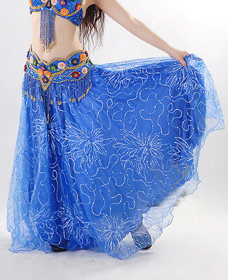 New Belly Dance Costume Embroidered Yarn Gauze 2 layer Swing Long Skirt 9 colors