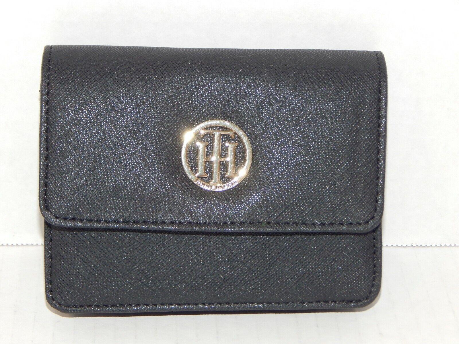 Medium Black Bi-Fold Leather Wallet w/ Gold Logo - TOMMY HILFIGER - NWOT