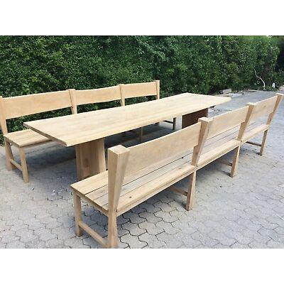 Eichenholz Essgarnitur Tisch, Bank, Esstisch, Rustikal, Landhaus, Gartenmöbel