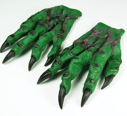 Large Green Goblin Hands Gloves Monster Crocodile Halloween Fancy Dress Adult