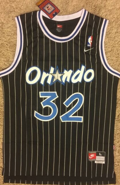 VINTAGE NIKE ORLANDO MAGIC SHAQUILLE O NEAL PINSTRIPES JERSEY RETRO SIZE  LARGE be8fad840