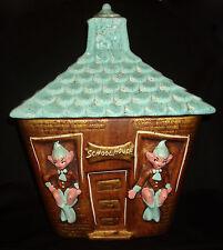 Vintage California Originals Elves Elf Pixie School House Painted Cookie Jar Lid
