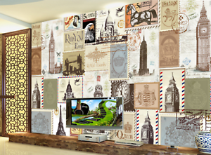 3D Stamp Build 654 Wallpaper Murals Wall Print Wallpaper Mural AJ WALL AU Kyra