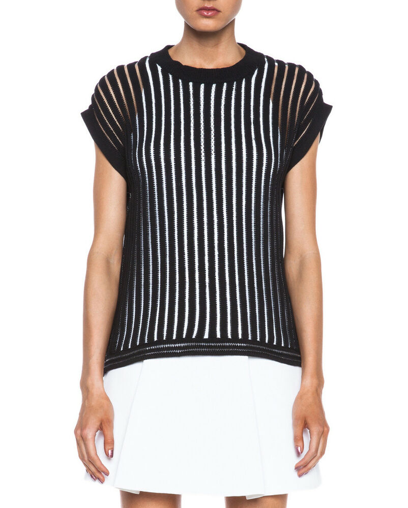 3.1 Phillip Lim Designer Sheer Tricot Sans Manches Pull Pullover Noir. Sz S Bnwt