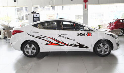1Set White Red RS-R Left Right Firebird Car Body Side Vinyl Sticker Decals AN018