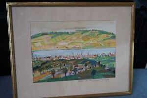 Old-Swiss-Gouache-on-Board-Art-Painting-Aargau-Brugg-Landscape-View-artist-signe