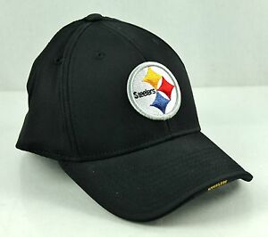 6b8b371ba5b Image is loading Pittsburgh-STEELERS-Black-Surf-Arch-Flex-Structured-Hat-