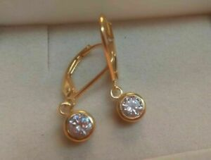 1-00-Ct-Round-Cut-Diamond-Dangle-Drop-Earrings-14K-Yellow-Gold-Over