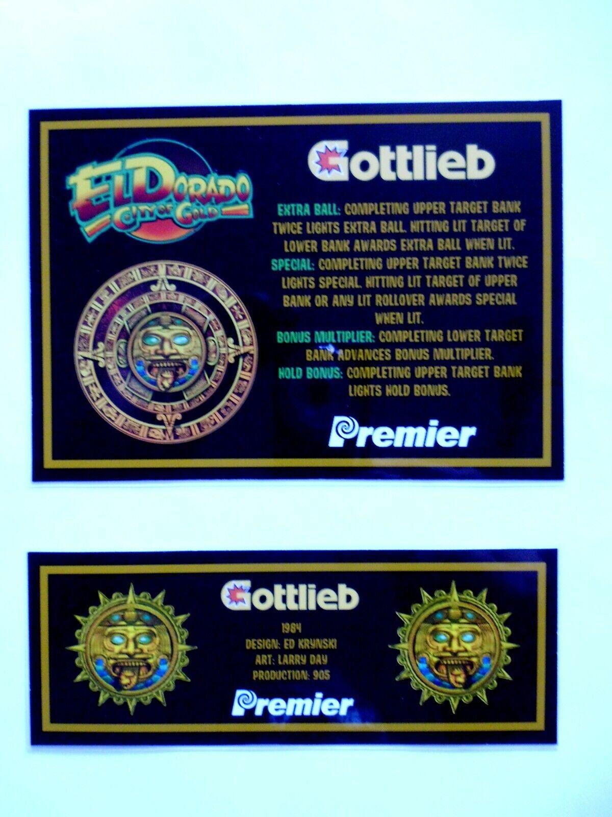 * 'EL DORADO CITY OF GOLD' Gottlieb 1984 Custom Instruction/Apron Cards * (New)