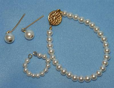 Graduated Pearl Necklace and 14 kgf Earrings for Sydney /& similar Fashion Dolls