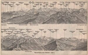 Maps, Atlases & Globes Blumisalp Jungfrau Switzerland Schweiz 1897 Map Easy To Lubricate Panorama From/von Niesen 2366m