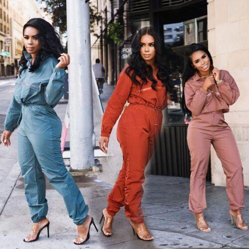 2pcs Women Fashion Solid Collar Zipper Long Sleeve Top Casual Club Slim Jumpsuit