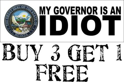"My governor is an idiot bumper sticker Nevada Version 8.8/"" x 3/"" Decal"